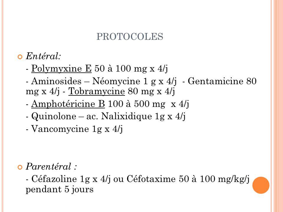 PROTOCOLES Entéral: - Polymyxine E 50 à 100 mg x 4/j - Aminosides – Néomycine 1 g x 4/j - Gentamicine 80 mg x 4/j - Tobramycine 80 mg x 4/j - Amphotéricine B 100 à 500 mg x 4/j - Quinolone – ac.