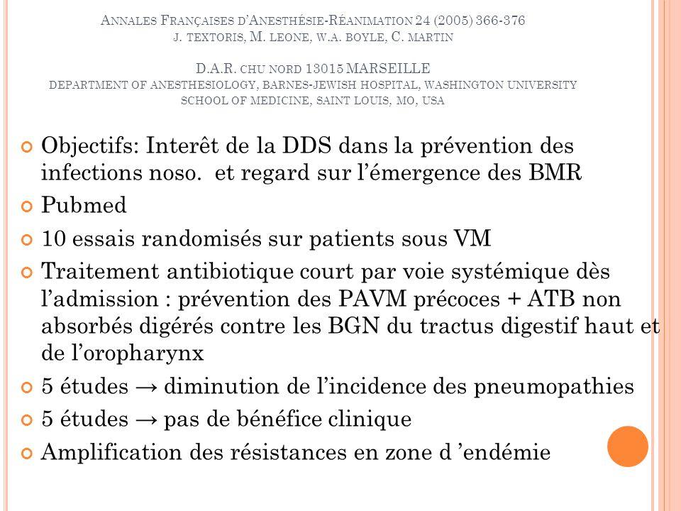 A NNALES F RANÇAISES D A NESTHÉSIE -R ÉANIMATION 24 (2005) 366-376 J.