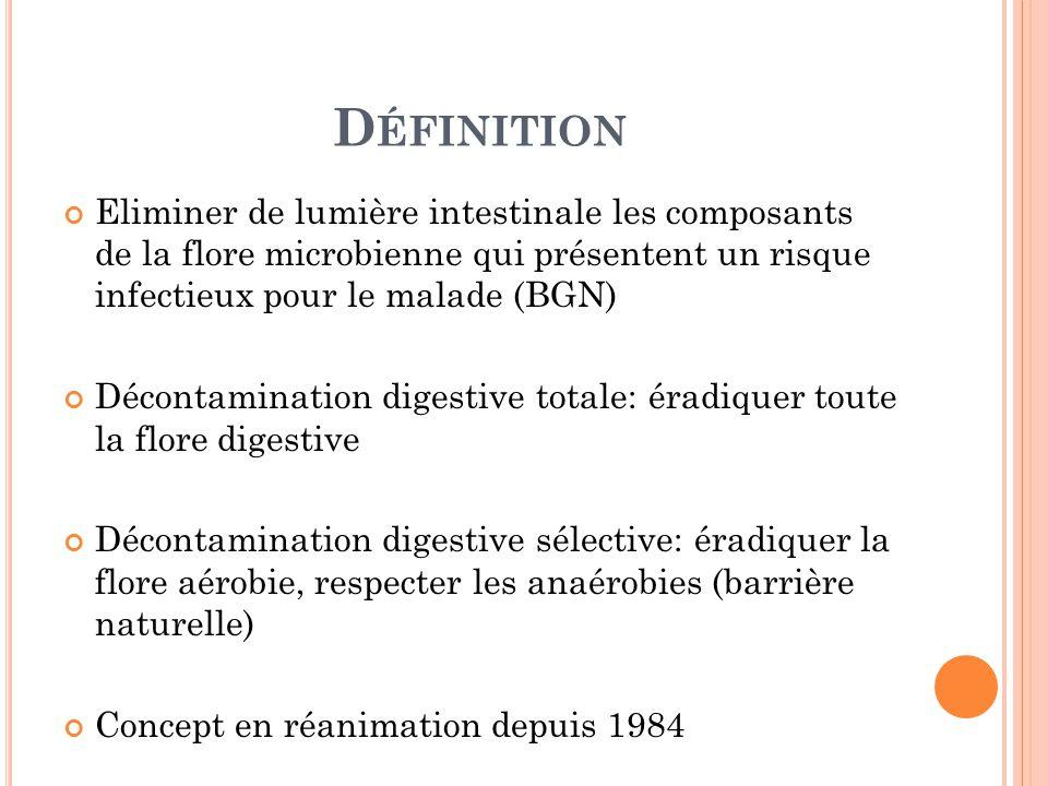 D ÉFINITION Eliminer de lumière intestinale les composants de la flore microbienne qui présentent un risque infectieux pour le malade (BGN) Décontamination digestive totale: éradiquer toute la flore digestive Décontamination digestive sélective: éradiquer la flore aérobie, respecter les anaérobies (barrière naturelle) Concept en réanimation depuis 1984