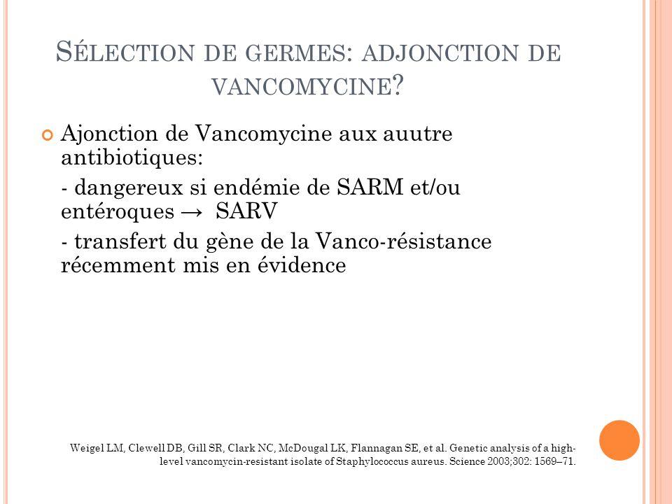 S ÉLECTION DE GERMES : ADJONCTION DE VANCOMYCINE .