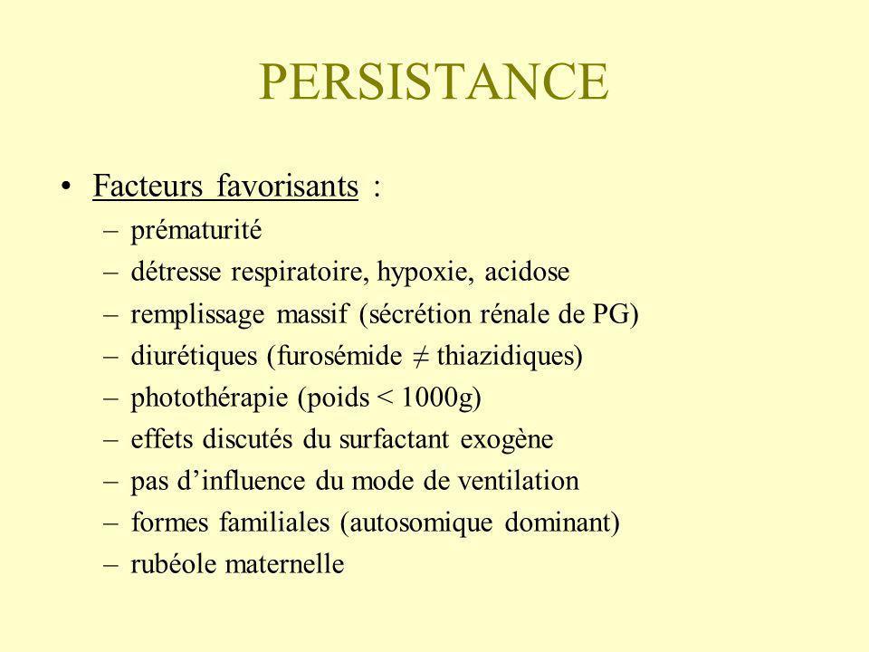 PERSISTANCE Facteurs favorisants : –prématurité –détresse respiratoire, hypoxie, acidose –remplissage massif (sécrétion rénale de PG) –diurétiques (fu
