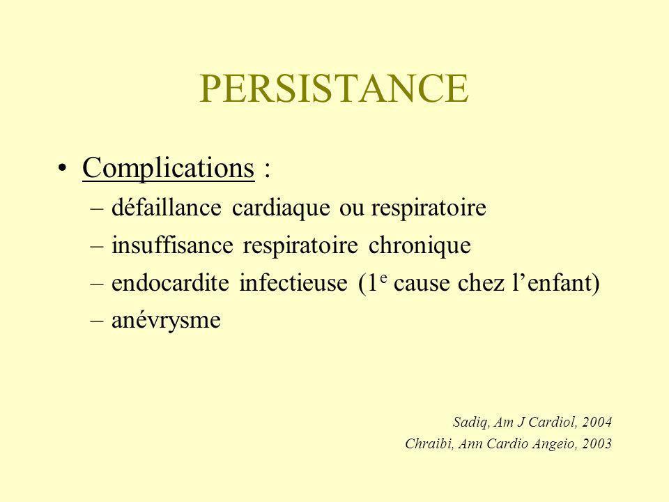 PERSISTANCE Complications : –défaillance cardiaque ou respiratoire –insuffisance respiratoire chronique –endocardite infectieuse (1 e cause chez lenfant) –anévrysme Sadiq, Am J Cardiol, 2004 Chraibi, Ann Cardio Angeio, 2003