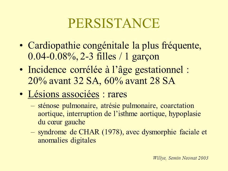 PERSISTANCE Facteurs favorisants : –prématurité –détresse respiratoire, hypoxie, acidose –remplissage massif (sécrétion rénale de PG) –diurétiques (furosémide thiazidiques) –photothérapie (poids < 1000g) –effets discutés du surfactant exogène –pas dinfluence du mode de ventilation –formes familiales (autosomique dominant) –rubéole maternelle