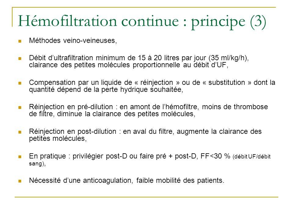 Hémofiltration continue : principe (3) Méthodes veino-veineuses, Débit dultrafiltration minimum de 15 à 20 litres par jour (35 ml/kg/h), clairance des