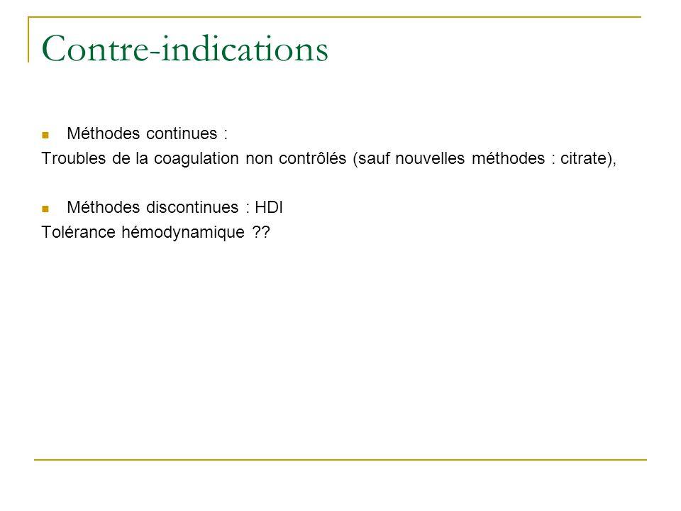 Contre-indications Méthodes continues : Troubles de la coagulation non contrôlés (sauf nouvelles méthodes : citrate), Méthodes discontinues : HDI Tolé