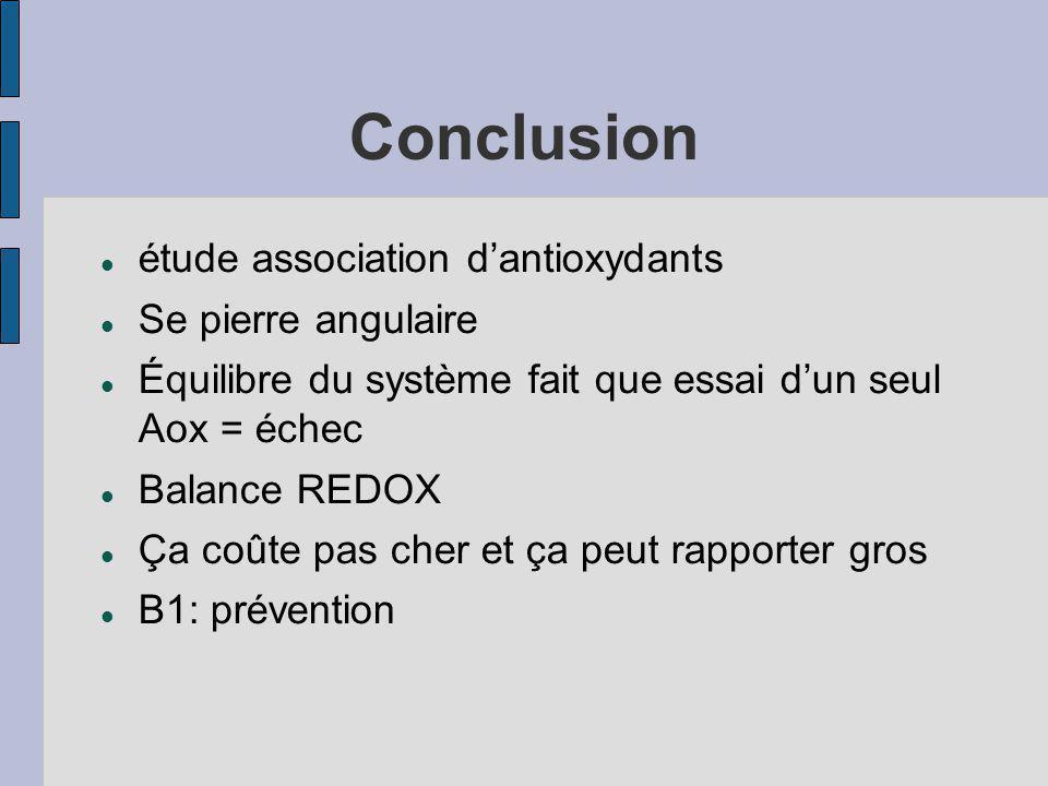 Conclusion étude association dantioxydants Se pierre angulaire Équilibre du système fait que essai dun seul Aox = échec Balance REDOX Ça coûte pas cher et ça peut rapporter gros B1: prévention