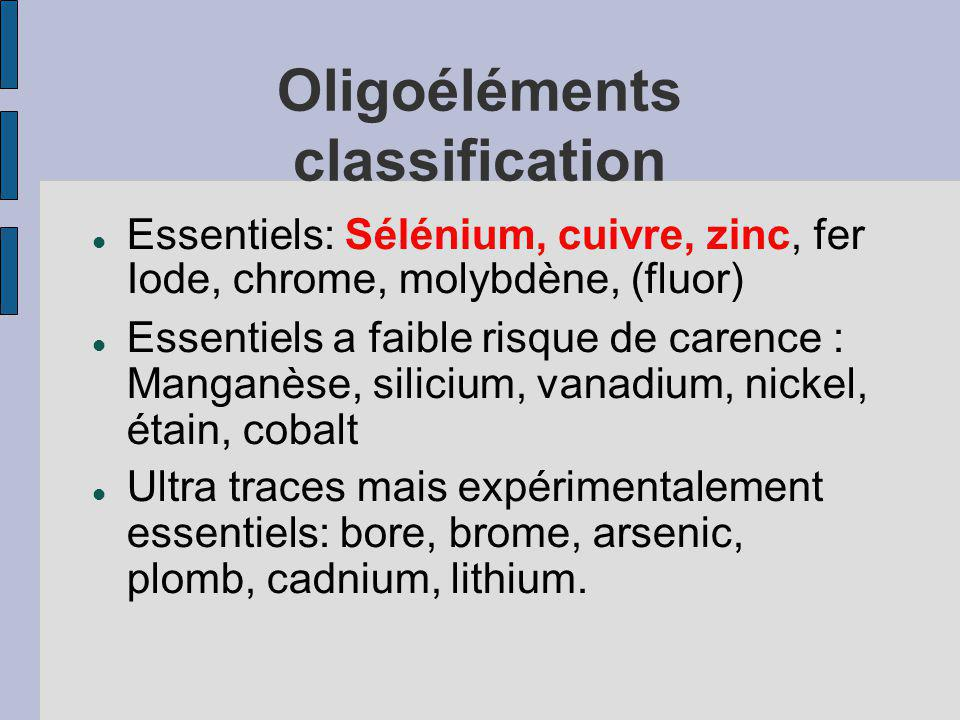 Oligoéléments classification Essentiels: Sélénium, cuivre, zinc, fer Iode, chrome, molybdène, (fluor) Essentiels a faible risque de carence : Manganèse, silicium, vanadium, nickel, étain, cobalt Ultra traces mais expérimentalement essentiels: bore, brome, arsenic, plomb, cadnium, lithium.