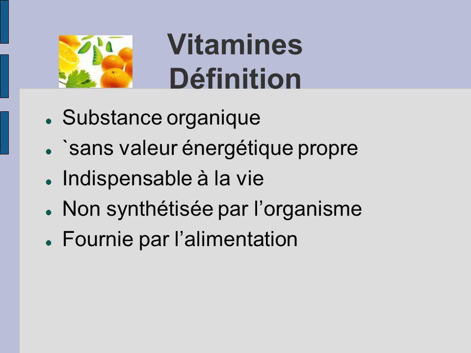 Vitamines Définition Substance organique `sans valeur énergétique propre Indispensable à la vie Non synthétisée par lorganisme Fournie par lalimentation