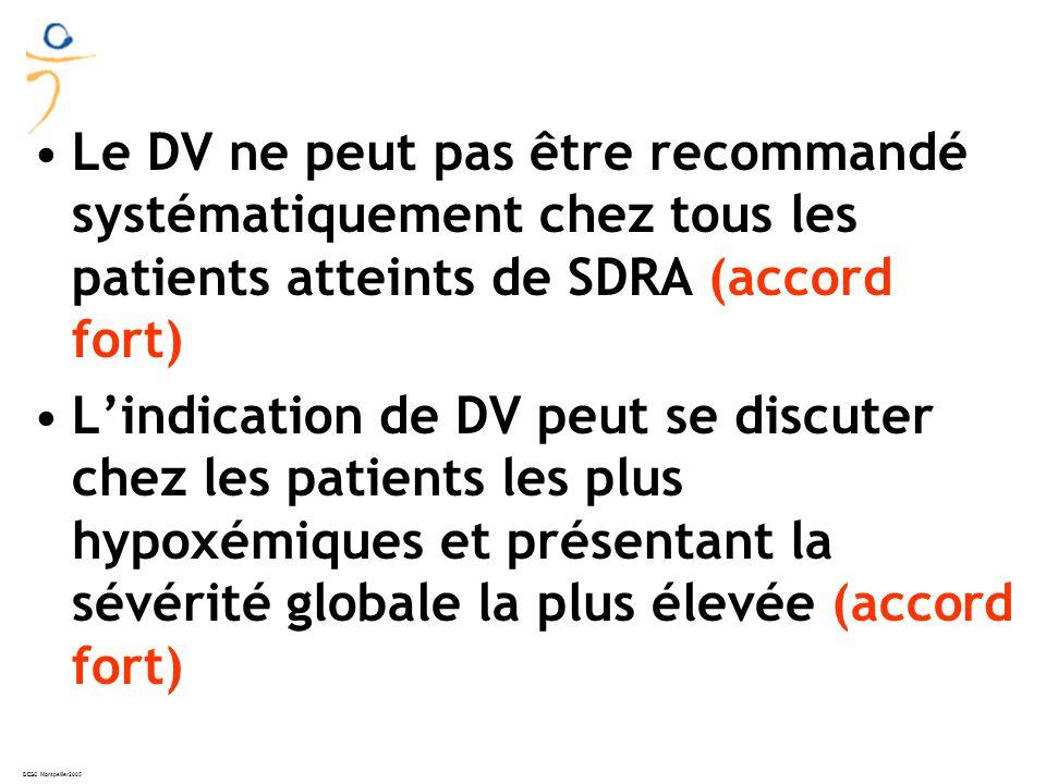 DESC Montpellier2005 Le DV ne peut pas être recommandé systématiquement chez tous les patients atteints de SDRA (accord fort) Lindication de DV peut se discuter chez les patients les plus hypoxémiques et présentant la sévérité globale la plus élevée (accord fort)