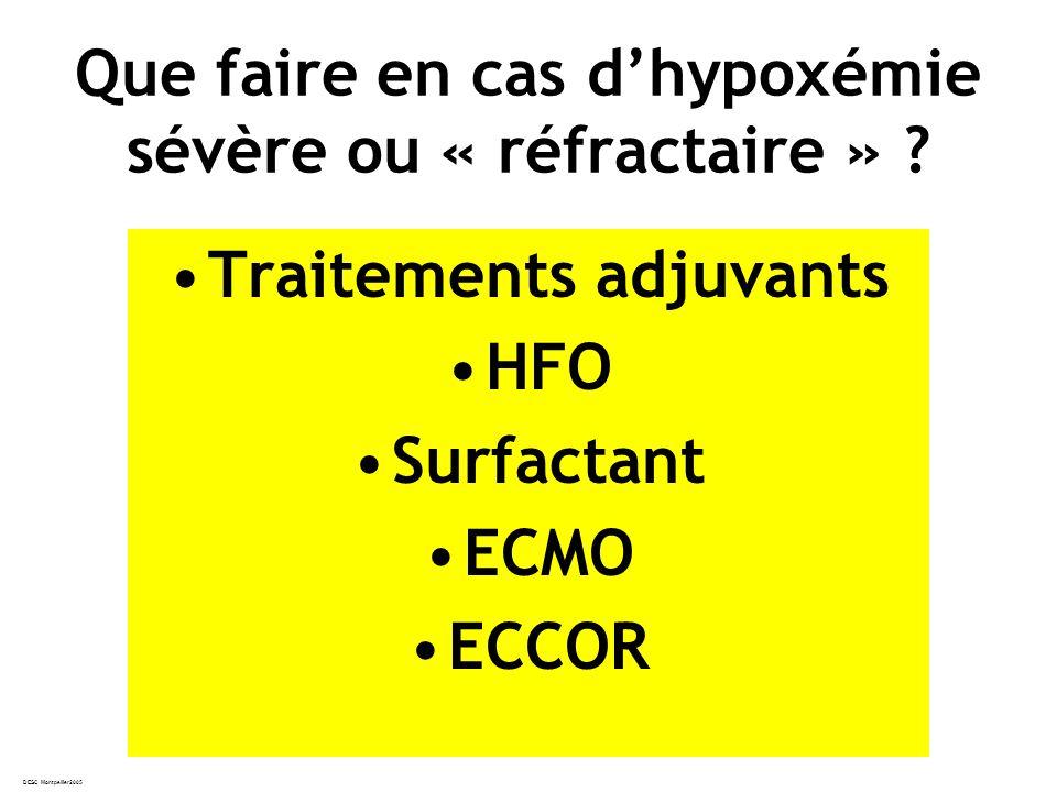 DESC Montpellier2005 Que faire en cas dhypoxémie sévère ou « réfractaire » .