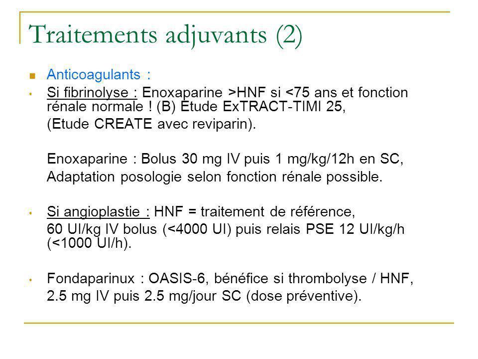 Traitements adjuvants (2) Anticoagulants : Si fibrinolyse : Enoxaparine >HNF si <75 ans et fonction rénale normale ! (B) Etude ExTRACT-TIMI 25, (Etude