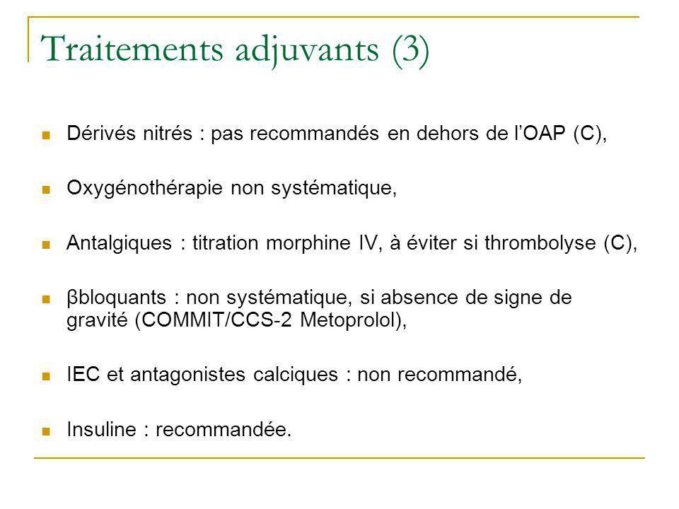 Traitements adjuvants (3) Dérivés nitrés : pas recommandés en dehors de lOAP (C), Oxygénothérapie non systématique, Antalgiques : titration morphine I
