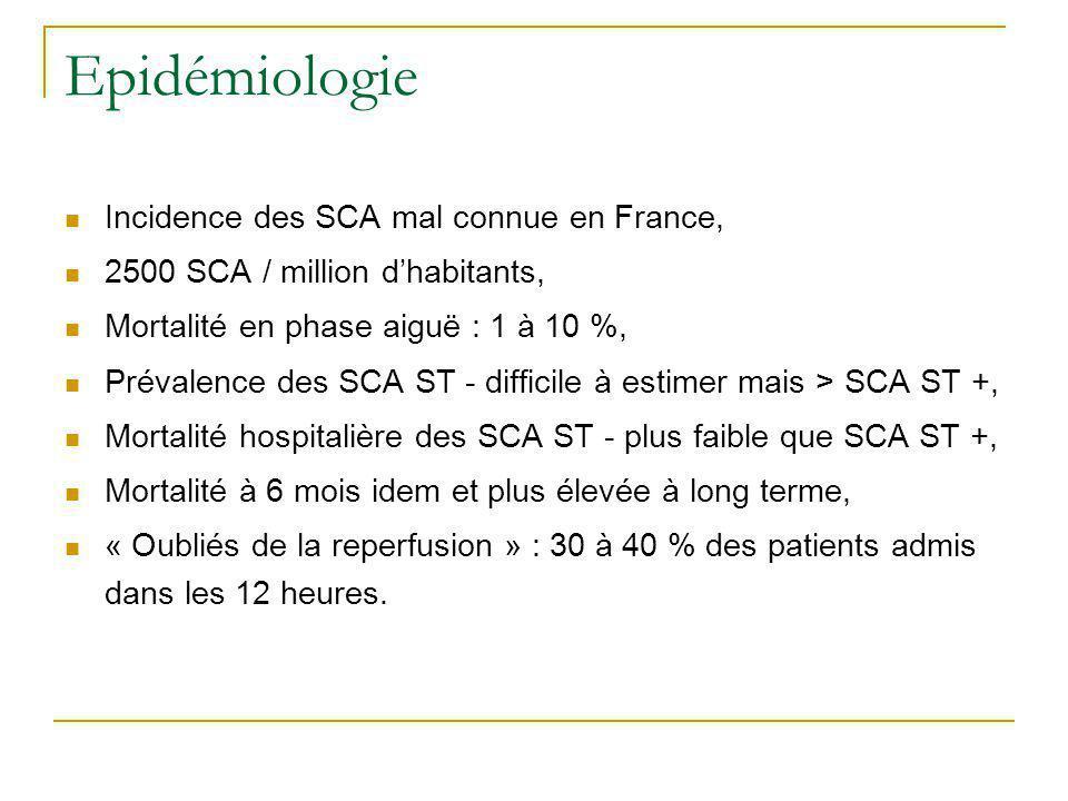 Epidémiologie Incidence des SCA mal connue en France, 2500 SCA / million dhabitants, Mortalité en phase aiguë : 1 à 10 %, Prévalence des SCA ST - diff