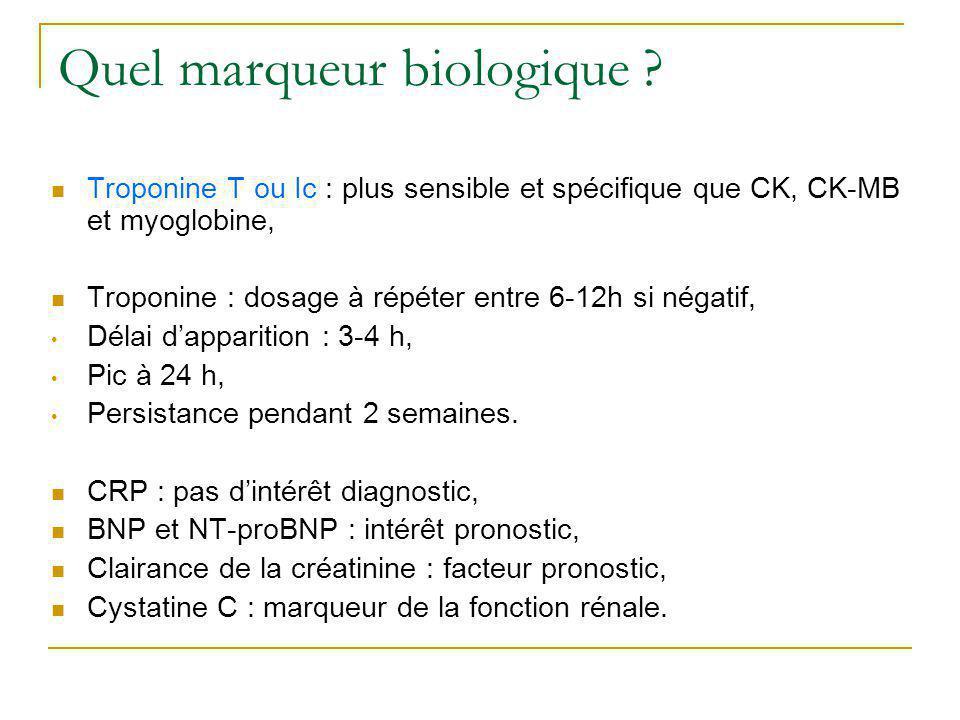 Quel marqueur biologique ? Troponine T ou Ic : plus sensible et spécifique que CK, CK-MB et myoglobine, Troponine : dosage à répéter entre 6-12h si né