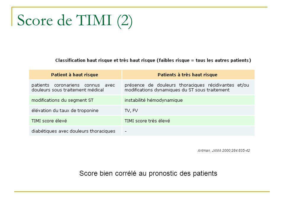 Score de TIMI (2) Antman, JAMA 2000;284:835-42 Score bien corrélé au pronostic des patients