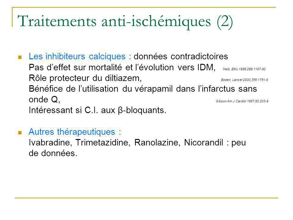 Traitements anti-ischémiques (2) Les inhibiteurs calciques : données contradictoires Pas deffet sur mortalité et lévolution vers IDM, Held, BMJ 1989;2