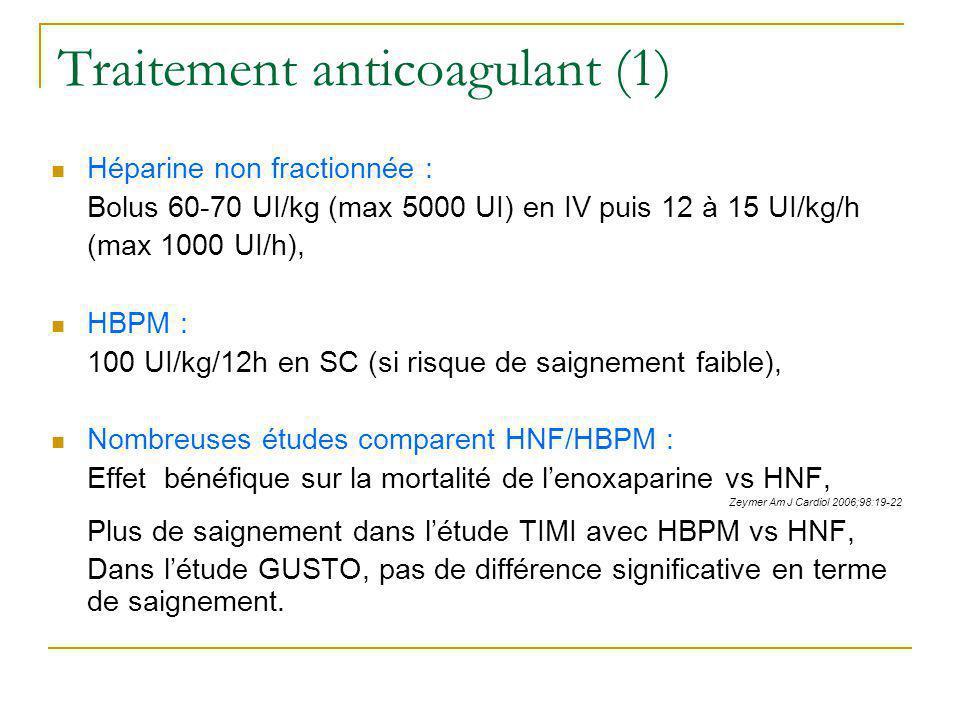 Traitement anticoagulant (1) Héparine non fractionnée : Bolus 60-70 UI/kg (max 5000 UI) en IV puis 12 à 15 UI/kg/h (max 1000 UI/h), HBPM : 100 UI/kg/1