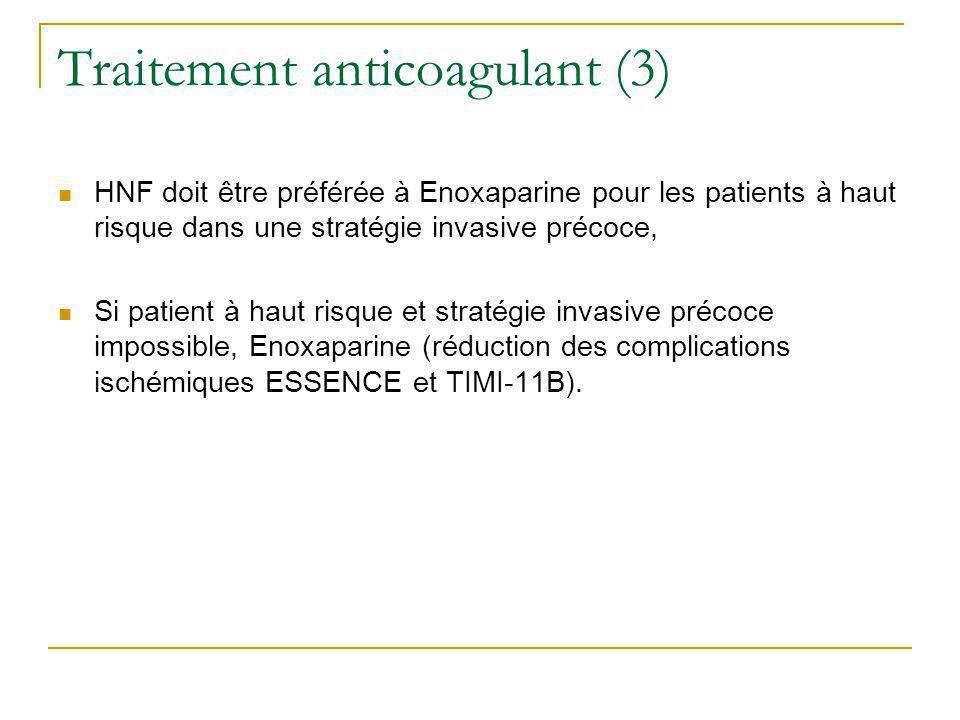 Traitement anticoagulant (3) HNF doit être préférée à Enoxaparine pour les patients à haut risque dans une stratégie invasive précoce, Si patient à ha