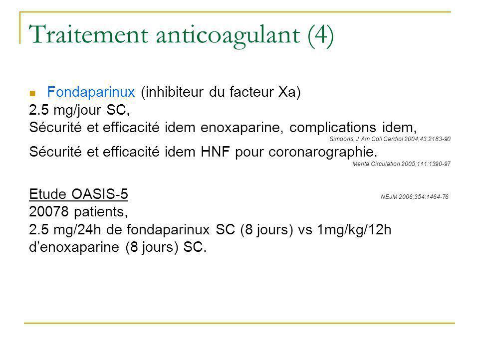 Traitement anticoagulant (4) Fondaparinux (inhibiteur du facteur Xa) 2.5 mg/jour SC, Sécurité et efficacité idem enoxaparine, complications idem, Simo
