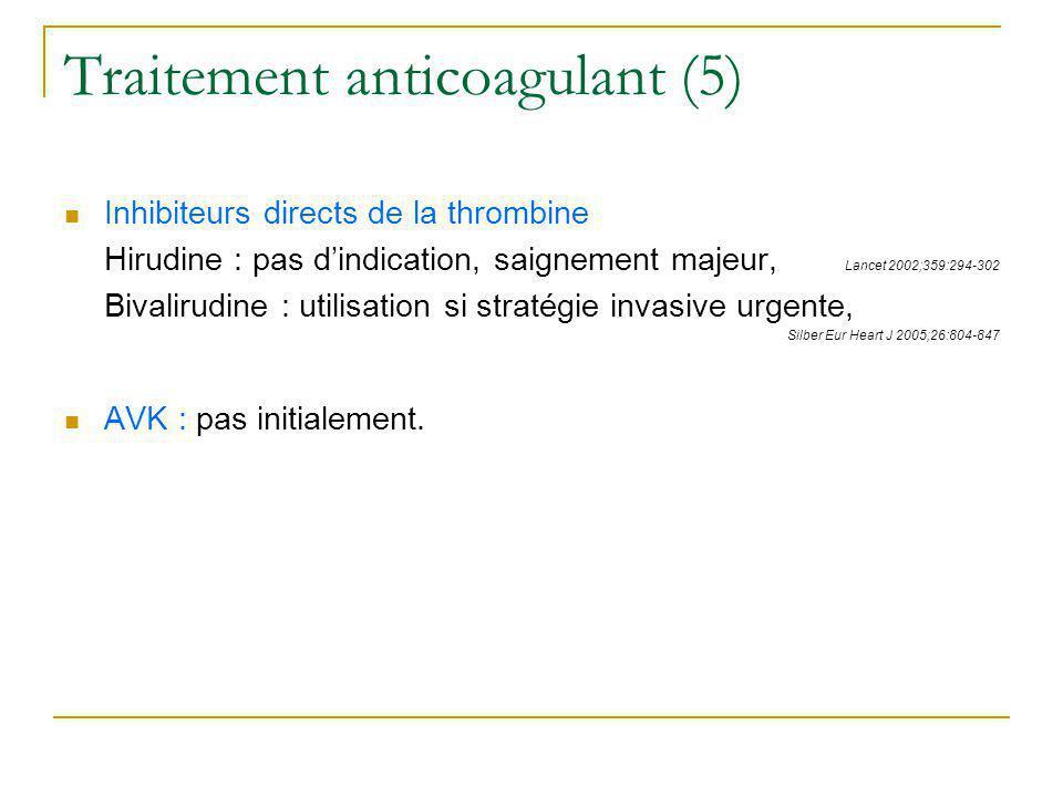 Traitement anticoagulant (5) Inhibiteurs directs de la thrombine Hirudine : pas dindication, saignement majeur, Lancet 2002;359:294-302 Bivalirudine :