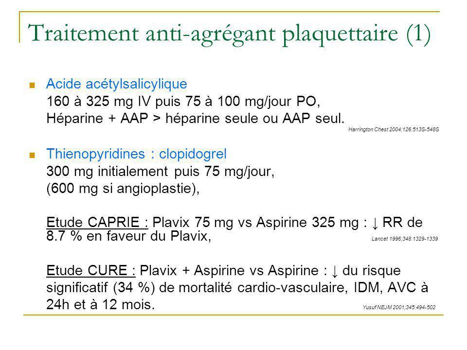 Traitement anti-agrégant plaquettaire (1) Acide acétylsalicylique 160 à 325 mg IV puis 75 à 100 mg/jour PO, Héparine + AAP > héparine seule ou AAP seu
