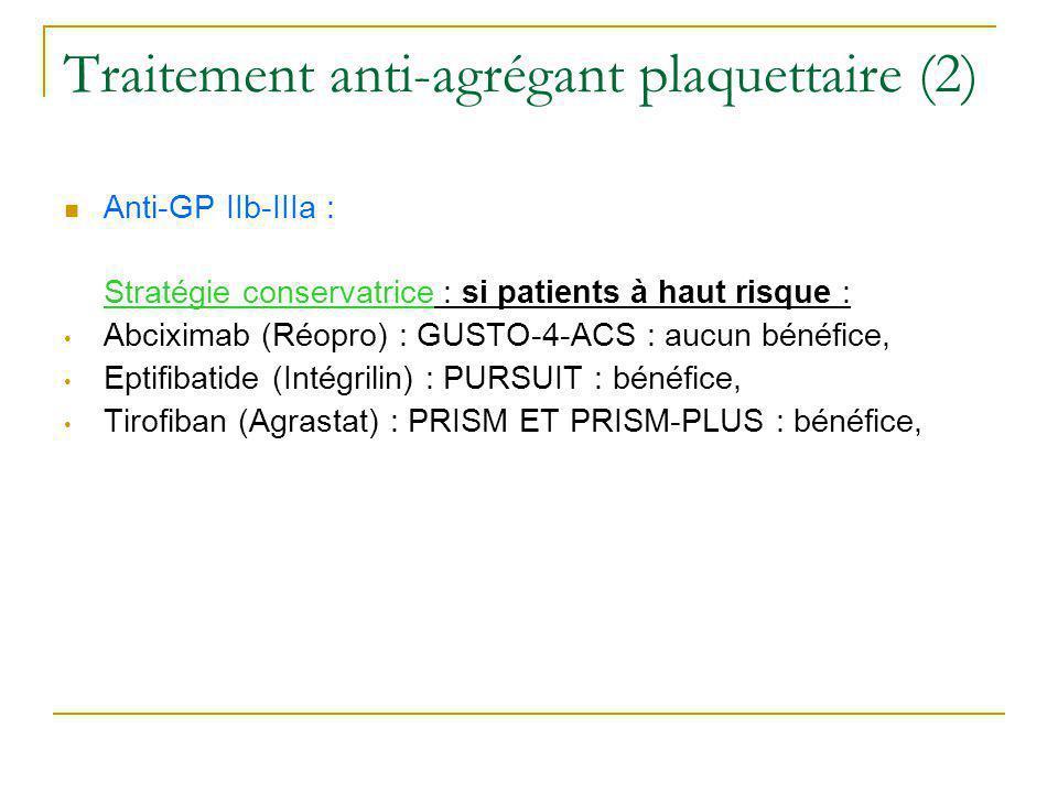 Traitement anti-agrégant plaquettaire (2) Anti-GP IIb-IIIa : Stratégie conservatrice : si patients à haut risque : Abciximab (Réopro) : GUSTO-4-ACS :