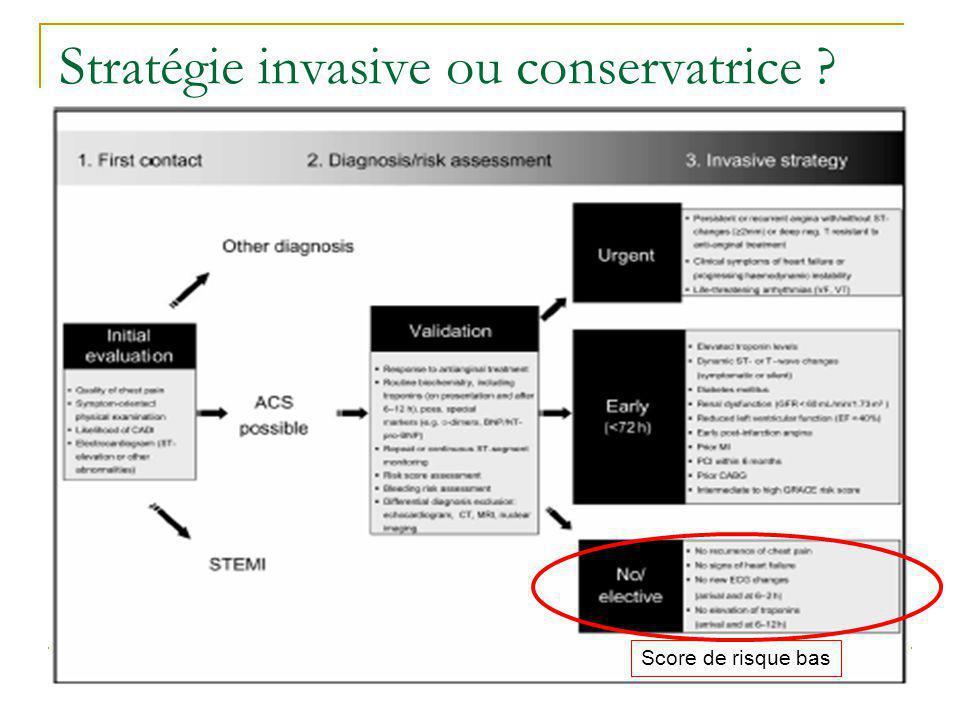 Score de risque bas Stratégie invasive ou conservatrice ?