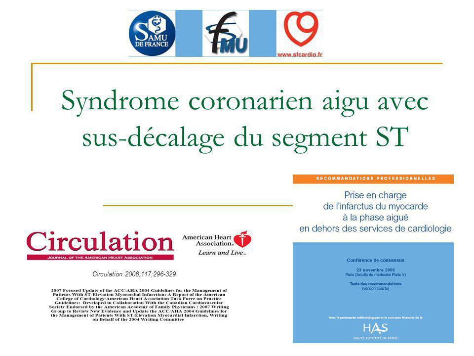 Traitements adjuvants (3) Dérivés nitrés : pas recommandés en dehors de lOAP (C), Oxygénothérapie non systématique, Antalgiques : titration morphine IV, à éviter si thrombolyse (C), βbloquants : non systématique, si absence de signe de gravité (COMMIT/CCS-2 Metoprolol), IEC et antagonistes calciques : non recommandé, Insuline : recommandée.