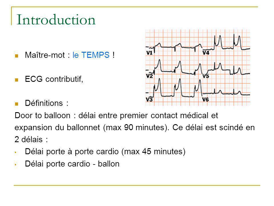 Introduction Maître-mot : le TEMPS ! ECG contributif, Définitions : Door to balloon : délai entre premier contact médical et expansion du ballonnet (m