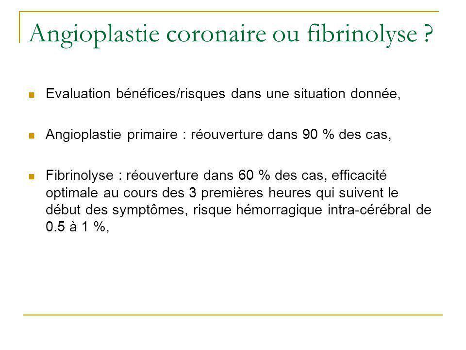 Thrombolyse (1) Possible en pré-hospitalier, La plus précoce, efficacité optimale dans les 3 premières heures qui suivent le début des symptômes, Contre-indications nombreuses mais rares, Complications rares (hémorragies « graves » : 5%, AVC : 1,8%, hémorragies cérébrales : < 1%), Mais réocclusions - précoces : 6 - 13% - à 1 mois : 30% ASSENT 2 : ténectéplase : saignements sévères extra- cérébraux (4.66 % vs 5.94 %).