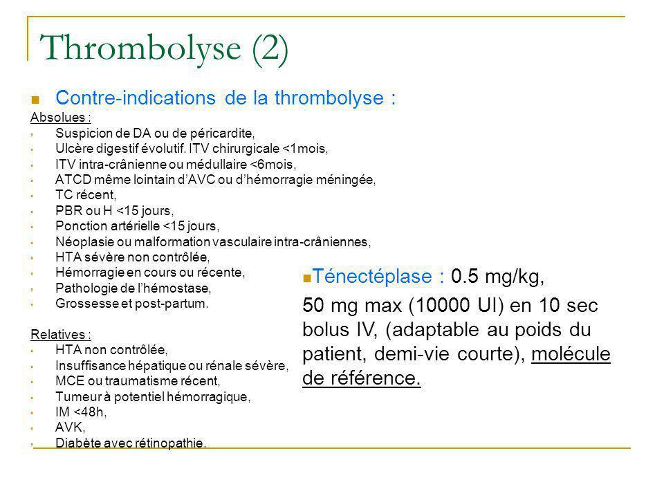 Thrombolyse (2) Contre-indications de la thrombolyse : Absolues : Suspicion de DA ou de péricardite, Ulcère digestif évolutif. ITV chirurgicale <1mois