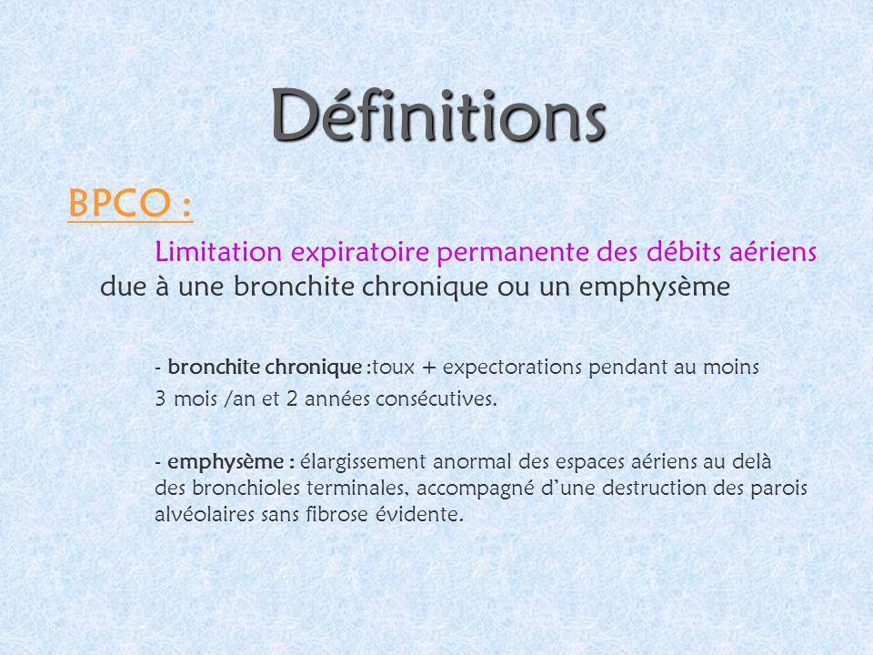 Définitions BPCO : Limitation expiratoire permanente des débits aériens due à une bronchite chronique ou un emphysème - bronchite chronique :toux + ex