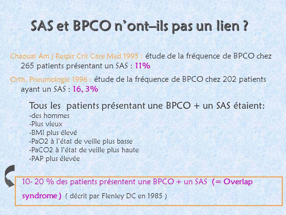 SAS et BPCO nont–ils pas un lien ? Chaouat Am j Respir Crit Care Med 1995 : étude de la fréquence de BPCO chez 265 patients présentant un SAS : 11% Or