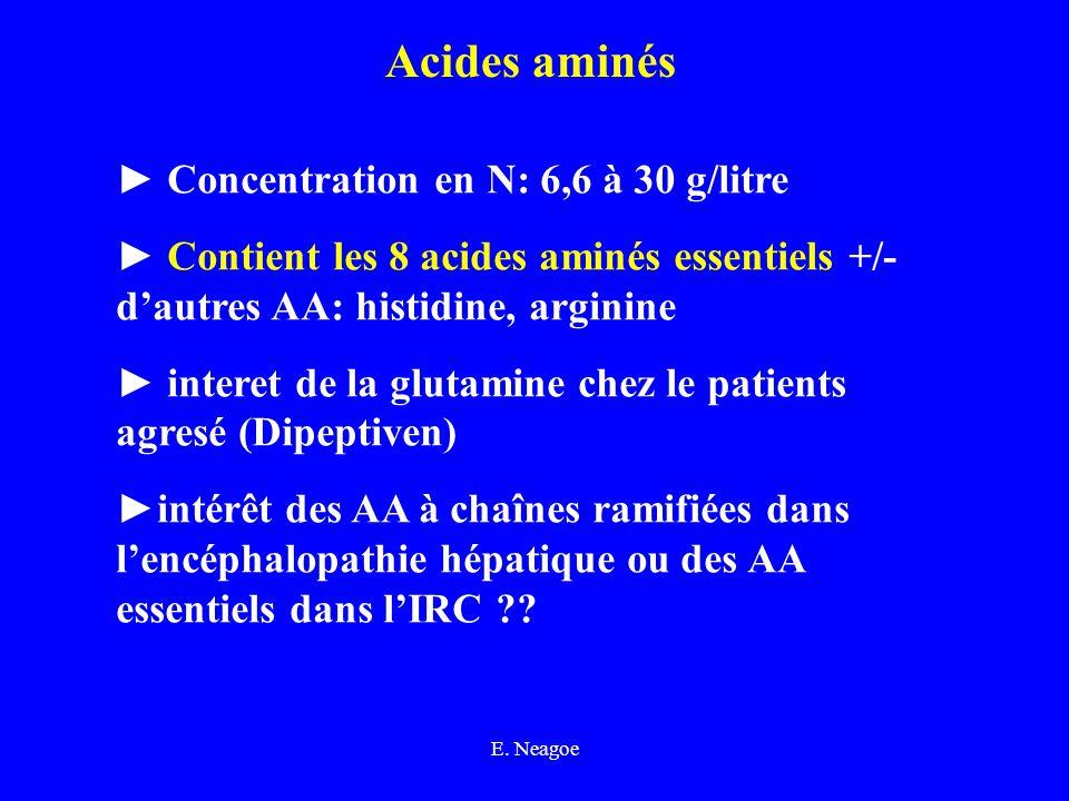 E. Neagoe Acides aminés Concentration en N: 6,6 à 30 g/litre Contient les 8 acides aminés essentiels +/- dautres AA: histidine, arginine interet de la