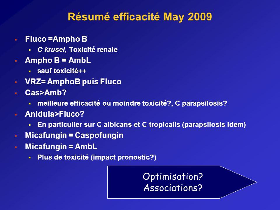 Résumé efficacité May 2009 Fluco =Ampho B C krusei, Toxicité renale Ampho B = AmbL sauf toxicité++ VRZ= AmphoB puis Fluco Cas>Amb.