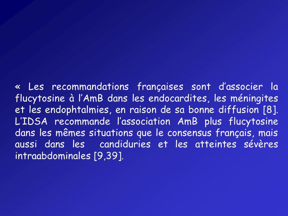 « Les recommandations françaises sont dassocier la flucytosine à lAmB dans les endocardites, les méningites et les endophtalmies, en raison de sa bonne diffusion [8].