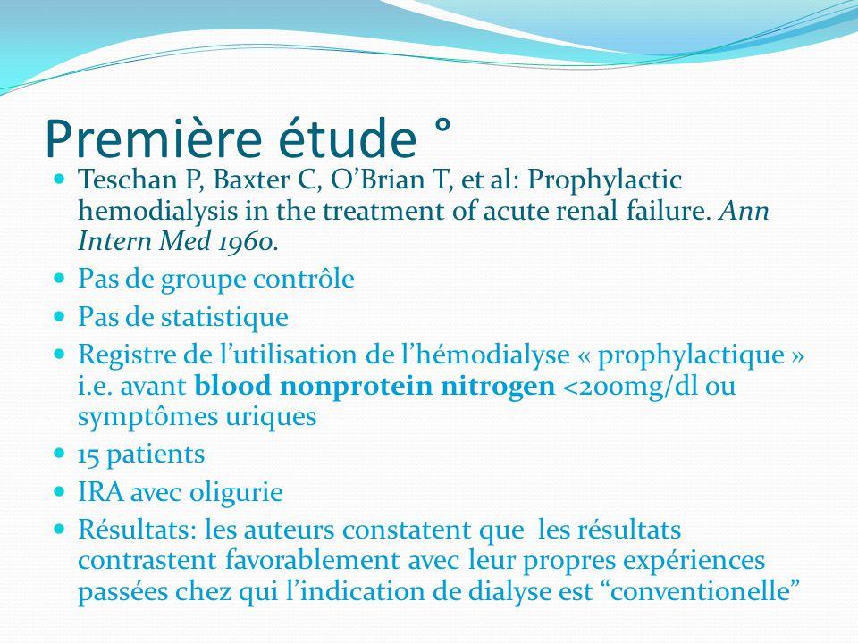 Première étude ° Teschan P, Baxter C, OBrian T, et al: Prophylactic hemodialysis in the treatment of acute renal failure. Ann Intern Med 1960. Pas de