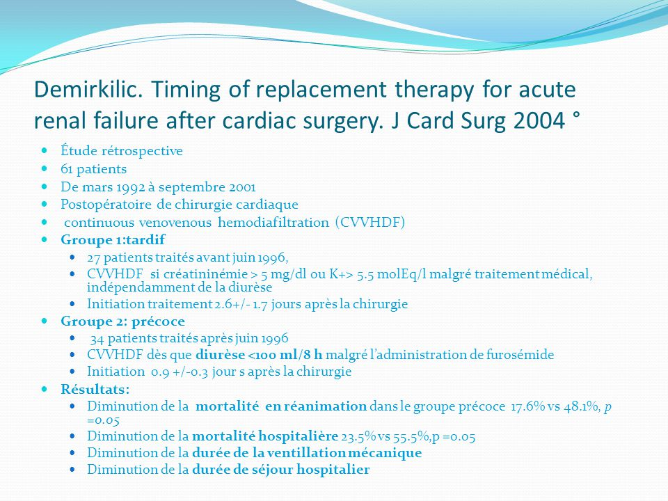 Demirkilic.Timing of replacement therapy for acute renal failure after cardiac surgery.