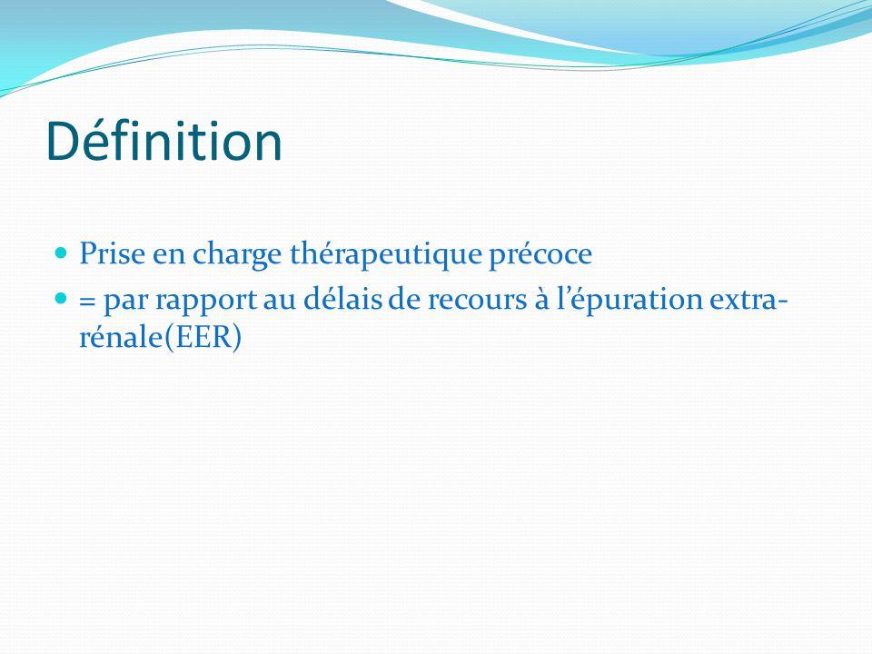 Définition Prise en charge thérapeutique précoce = par rapport au délais de recours à lépuration extra- rénale(EER)