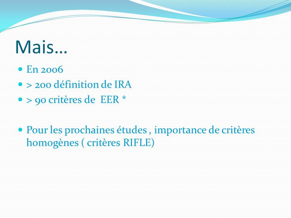 Mais… En 2006 > 200 définition de IRA > 90 critères de EER * Pour les prochaines études, importance de critères homogènes ( critères RIFLE)