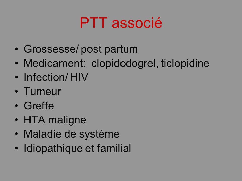 PTT associé Grossesse/ post partum Medicament: clopidodogrel, ticlopidine Infection/ HIV Tumeur Greffe HTA maligne Maladie de système Idiopathique et