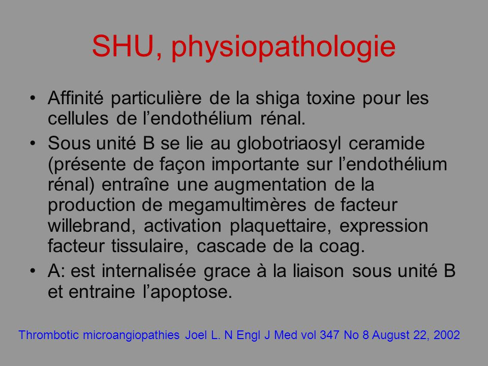 Affinité particulière de la shiga toxine pour les cellules de lendothélium rénal. Sous unité B se lie au globotriaosyl ceramide (présente de façon imp