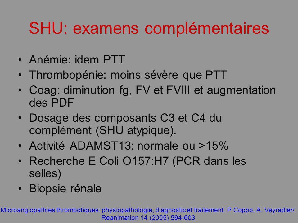 SHU: examens complémentaires Anémie: idem PTT Thrombopénie: moins sévère que PTT Coag: diminution fg, FV et FVIII et augmentation des PDF Dosage des c