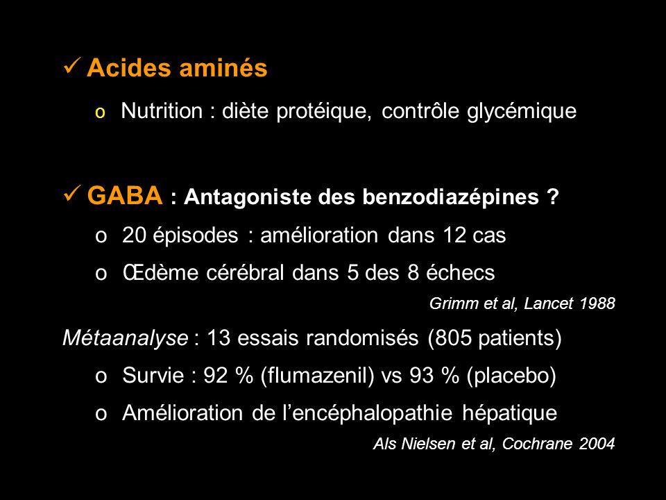 Acides aminés o Nutrition : diète protéique, contrôle glycémique GABA : Antagoniste des benzodiazépines .