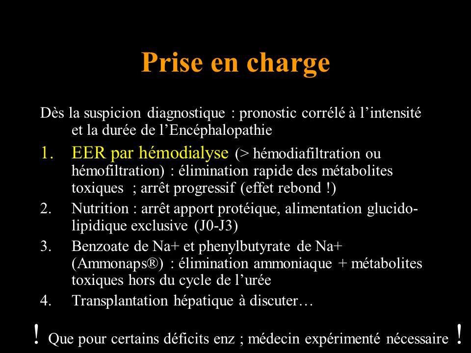 Prise en charge Dès la suspicion diagnostique : pronostic corrélé à lintensité et la durée de lEncéphalopathie 1.EER par hémodialyse (> hémodiafiltration ou hémofiltration) : élimination rapide des métabolites toxiques ; arrêt progressif (effet rebond !) 2.Nutrition : arrêt apport protéique, alimentation glucido- lipidique exclusive (J0-J3) 3.Benzoate de Na+ et phenylbutyrate de Na+ (Ammonaps®) : élimination ammoniaque + métabolites toxiques hors du cycle de lurée 4.Transplantation hépatique à discuter… .