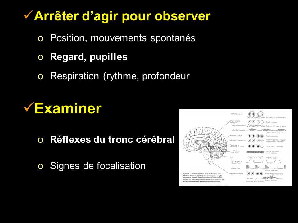 Arrêter dagir pour observer o Position, mouvements spontanés o Regard, pupilles o Respiration (rythme, profondeur, mode) Examiner o Réflexes du tronc cérébral o Signes de focalisation