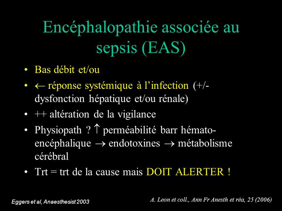 Encéphalopathie associée au sepsis (EAS) Bas débit et/ou réponse systémique à linfection (+/- dysfonction hépatique et/ou rénale) ++ altération de la vigilance Physiopath .