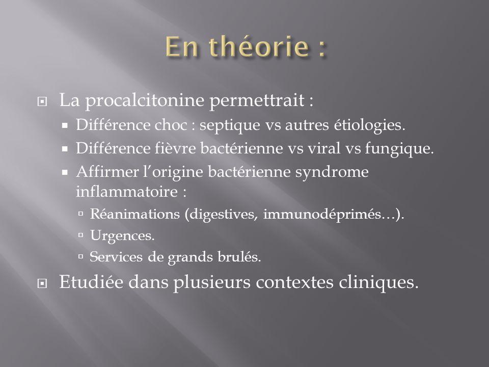La procalcitonine permettrait : Différence choc : septique vs autres étiologies. Différence fièvre bactérienne vs viral vs fungique. Affirmer lorigine