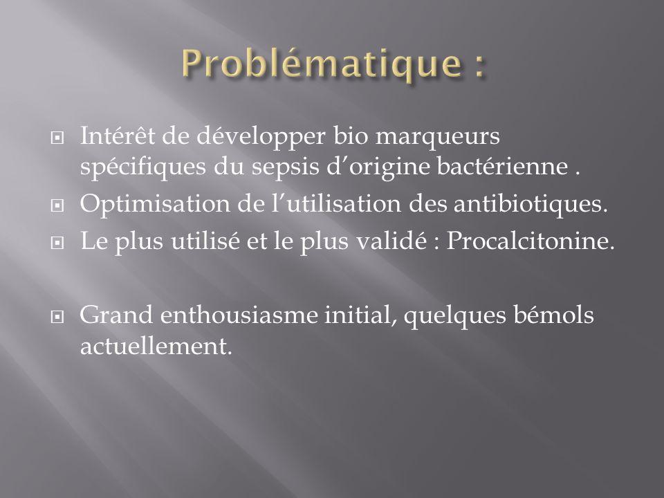 Intérêt de développer bio marqueurs spécifiques du sepsis dorigine bactérienne. Optimisation de lutilisation des antibiotiques. Le plus utilisé et le