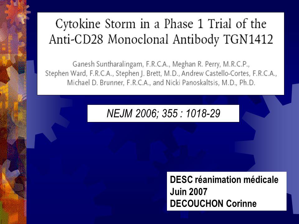 DISCUSSION (2) Réponse similaire chez les 6 patients avec une défaillance de plusieurs organes : des critères du SIRS initialement puis apparition dune détresse respiratoire avec insuffisance rénale et CIVD De même la lymphopénie est inexpliquée; lors des études pré- cliniques une hyperlymphocytose a été vue Une lymphopénie est fréquemment observée avec dautres AC monoclonaux, due à leur action anti-lymphocytaire, prévisible Elle existe également lors des sepsis